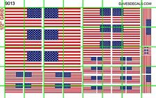 9013 DAVE'S DECALS 1/2 Set ASSORTED 50 STAR AMERICAN FLAG