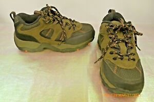 LANDS END Boys Youth 6 Olive Green Black SUEDE Athletic HIKING Shoes SNEAKERS