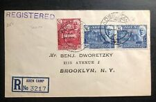 1946 Aden Camp Yemen Registered cover To Brooklyn NY USA Victory Issue Overprint