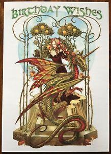 Briar Birthday Card 'Garden of Firedrake' Pagan Wicca Alternative Dragon BM45
