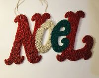 """Vintage Melted Plastic Popcorn Noel Christmas Wall Decoration 21"""" Red Green"""