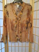 Nicola Womens Semi Sheer Crinkle Animal Print Open Front Ruffle Blouse Top Sz M