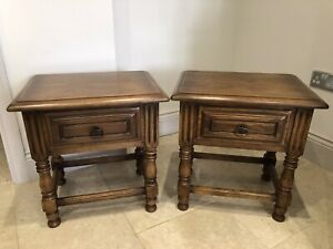 Pair Matching French Oak Carved Bedside Table Unit chest drawers Ex Condition