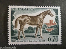 MONACO 1970, timbre 836, CHEVAL PUR SANG ANGLAIS, neuf**, VF MNH STAMP, HORSE