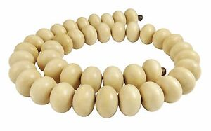Ambaba-White Beads Size Rondelle Approx. 15x10 MM Nature Wooden Beads Cord