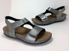 New $130 Romika Fidschi US size 7 - 7.5 / Euro 38 Gray Metallic Leather Sandals