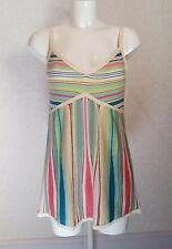 NEXT multi colour striped Knitted Cami Vest strappy top blouse sz.14 maxi dress