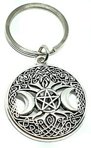 Triple Moon Keyring Witch Goddess Tree Pentagram Witchcraft Pagan Wiccan UK