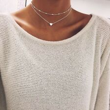 Valentines Day Gift Choker Necklace Chain Heart Pendant Silver/Gold