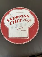 Set of 4 Williams Sonoma Snowman Chef Mugs In Round Gift Box w/ Lid Ceramic New