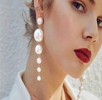 Womens Elegant Charming Big Pearl Long Tassel Earrings Ear Stud Jewelry 1Pair