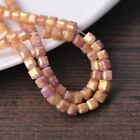New 50pcs 6mm Cube Square Faceted Gold Foil Glass Loose Spacer Beads Pink&Purple