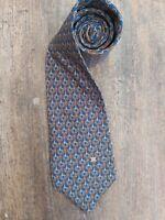Vintage Celine Paris Blue & Brown Geometric Silk Tie Necktie. Superb Cond