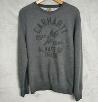 CARHARTT grey crew neck 'Champ' printed sweatshirt mens Size Medium