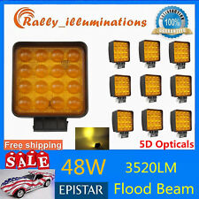 10X 48W LED Square Work Light Yellow Fog Lamp Truck Off road 3520LM 5D Opticals