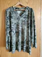 Women's Denim and Company New lightweight Fleece Green Pattern Top Plus Size 3x