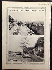 WW1 WATCHING THE ENEMY FROM BELOW MOTOR CYCLIST AMBUSH ANTIQUE PRINT 1915