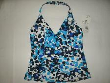 NWT Caribbean Joe Tankini Swim Top 4 Blue White GeometricSize 8 Retail$70