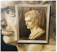 Antike Büste Römischer Kaiser. Original altes Ölgemälde, signiert D. REID