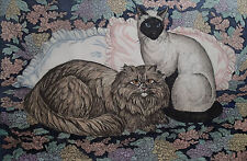 "Dorothy Lundquist Etching Longhair Brown & Siamese ""Cats & Pillows"" retail $100"