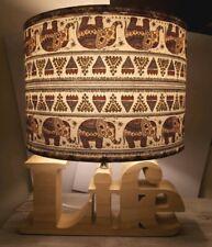Large Handmade Decoupage Table Lampshade Africa Elephant Nightlight Gift Ceiling