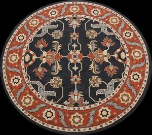 Oriental Floral Traditional Area Rug Wool Hand-Tufted 8x8 Round Charcoal Carpet