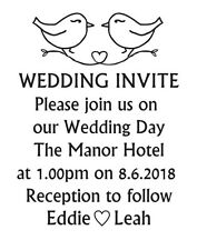Wedding invite stamp, wedding invitation DIY wedding custom love Bird