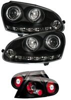 VW Golf Mk5 Black Twin Angel Eye Headlights with LED DRL and Black Rear Lights
