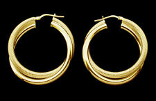 9ct Gold Plated Double Hoop Polished Pattern Creole Small Med Large Earrings