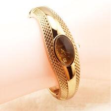 Women Round Digital Gold Color Quartz Bracelet Bangle Wristwatch Watches