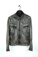 Original Dolce&Gabbana D&G Men Leather Brown Jacket fits S/M