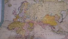 ANTIQUE MAP of the WORLD during WW2 on special paper made in Kingdom of Romania