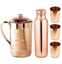 100% Pure Plain Copper Pitcher Jug & Bottle With Tumbler Glass Storage Ayurveda