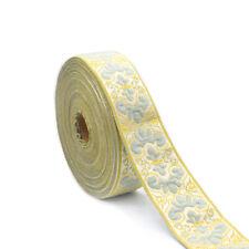 10M Chenille Vintage Floral Border Lace Ribbon Trim Jacquard Fabric Decor Crafts