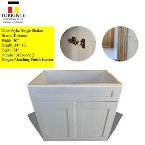 """33x24""""  White Shaker Wood Bathroom Vanity Double Door RTA"""