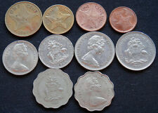BAHAMAS, 10 DIFFERENT TYPE OLD & NEW CIRCULATED WORLD FOREIGN COINS