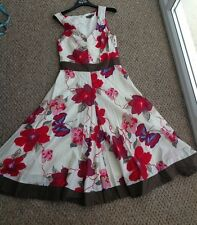 Fever London Beautiful Floral Butterfly Print Cotton Dress Size 12 Fully Lined