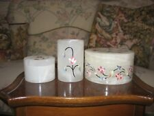 A Set of  Vintage Marble  Handmade Inlay Trinket Jewelry Boxes and Vase