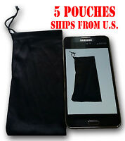 QTY 5 Cell Phone Case Cover Pouch Bag Sleeve Black Soft Cloth FITS MOST PHONES
