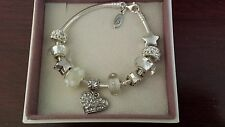 Authentic Pandora Sterling Silver Charm Bracelet with European Charms Beads 7.1""