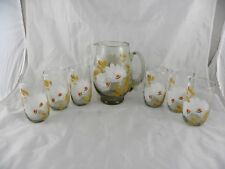 Vintage Hand Painted Floral Flowers Glass Juice Ice Tea Pitcher & 6 Glasses Set