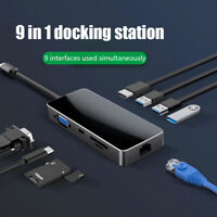 9 in 1 Type-c Docking Station USB 2.0 VGA HDMI 4K RJ-45 Hub for Macbook PC/Phone