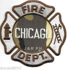"Chicago Fire Dept. - Tan Color - Camo Pattern, IL  (3.5"" x 3.5"" size) fire patch"
