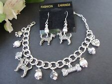 Schnauzer Dog Charm Bracelet & Earrings with F. Water Pearls &  Crystals