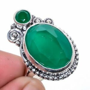Zambian Mines Emerald 925 Sterling Silver Jewelry Ring s.9 F2571