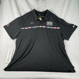 Nike LA Los Angeles Chargers Crucial Catch Polo Black Heather NFL Mens 4XL