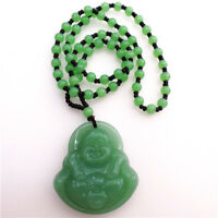 Natural Green Jade Smiling face Buddha Lucky Pendant Necklace Fashion Lucky