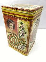 """VINTAGE Carmichael's Chips Tin  Kitchen Canister 10"""" x 6"""" Hinged Cover"""