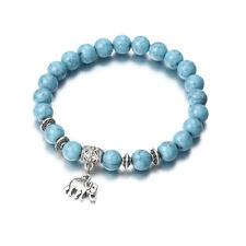 Women Simple Elephant Pendant Bead Bracelets Vintage Boho Bangles Jewelry CB