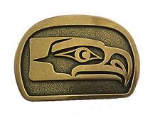 Vtg Seahawk Native American Art Belt Buckle Eagle Canada Tribal Totem Pole team